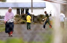 Refugees outside the Mangere Refugee Resettlement Centre.