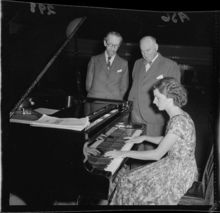 Lola Johnson with L D Austin & R L Macalister and new Town Hall piano 1956