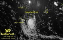Satellite image showing the location of TC ULA, as of 11am on Monday 11th January