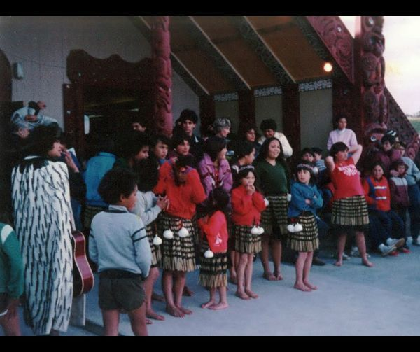 Some of the crowd at Takapūwāhia Marae, including 12-year-old Paula Collins, seen in the pink jacket in the centre of the group.