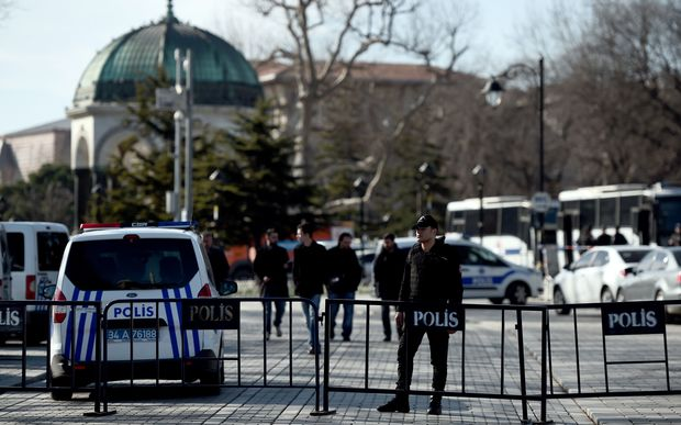 Police block access to the Blue Mosque area after the bomb attack.