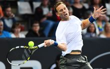 New Zealand tennis player Michael Venus in action at the ASB Classic.