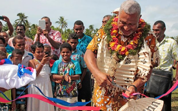 Fiji's Prime Minister Frank Bainimarama commissions the Ravuka Village Water Purification Project
