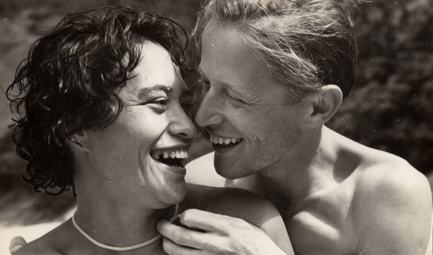 Anton Blank's mother Arapera Blank with her husband Pius on their honeymoon at Kennedys' Bay Coromandel in 1958.