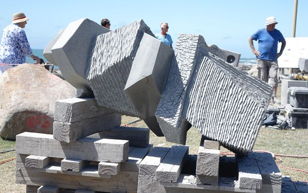 A sculpture at the Stone Sculpture Symposium in New Plymouth.