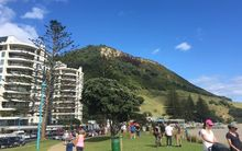 Mount Maunganui showing after effects of fire.
