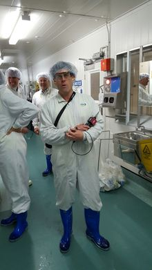 Hair nets, overalls and gumboots are compulsory attire at Fonterra's Collingwood St plant - even for visiting reporter Robin Martin.