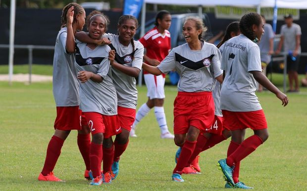 New Caledonia beat Tonga in their opening match at the Oceania Under 17 Women's Football Championship.