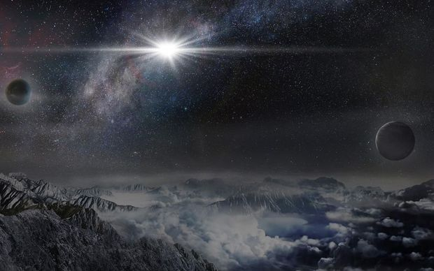 An artist's impression of the superluminous supernova ASASSN-15lh as it would appear from an exoplanet located about 10,000 light years away in the host galaxy of the supernova.