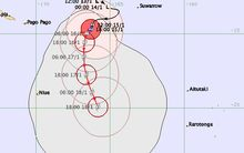 A map forecasting the path Cyclone Victor is likely to take through Cook Islands waters on Saturday and Sunday.