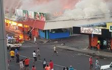 Fire at the flea market in Samoa's capital, Apia.