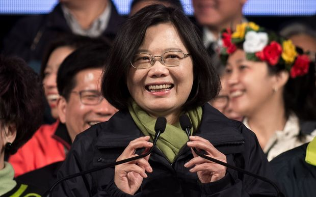 Democratic Progressive Party presidential candidate Tsai Ing-wen celebrates her victory.