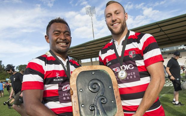 Counties Manakau co-captains, Vuga Tagickibau and Joshua Van Leishout with the trophy. January, 2016.