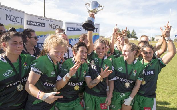 Manawatu celebrate with the national sevens trophy. January, 2016.