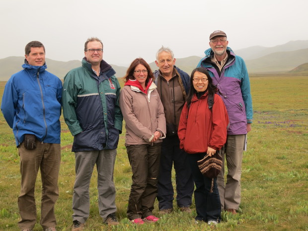 Dr Al Black, left, Dr Jim Moir, Dr Racheal Bryant, Professor Keith Woodford, Sharon Lucock and Dr Phil Rolston in Tibet.