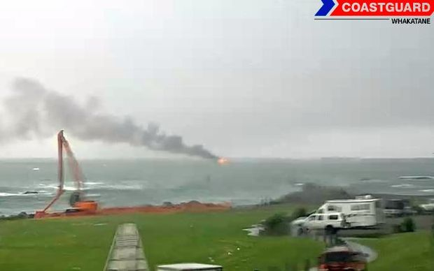 The fire can be seen on the Whakatane Harbour cam.