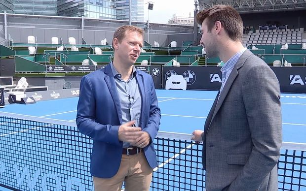 RNZ reporter Tom Furley (r) with Tennis Auckland chief executive Brent Robinson at ASB stadium