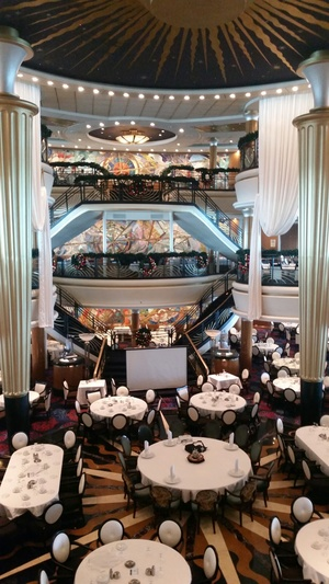 Inside the dining room on Royal Caribbean cruise ship Explorer of the Seas