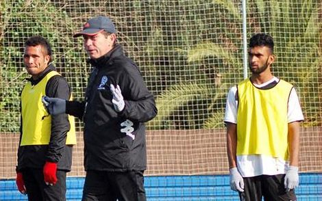 Fiji Olympic football coach Frank Farina issues instructions at training.