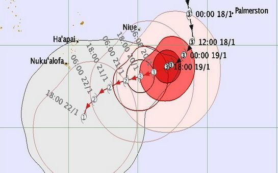 Predicted tracking map for Cyclone Victor.