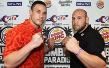 "Joseph Parker and Jason Bergman square off ahead of their ""Rumble in Paradise"" fight in Apia."