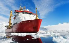 The British ice patrol ship HMS Protector.