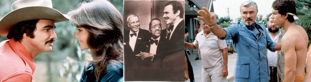 Images of Burt Renolds with Sally Field, with Frank Sinatra and Sammy Davis Jr, and in the film Boogie Nights