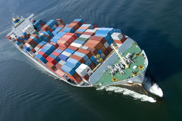 An aerial view of a container ship carrying exports (file)
