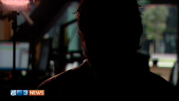 Picture of a convicted offender on 3 News with his face hidden in shadow.