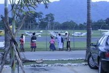 Air strip at Bauerfield Airport in Port Vila