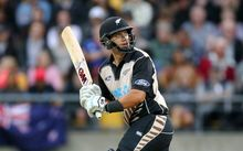 Ross Taylor batting briefly in the T20 series sealer vs Pakistan