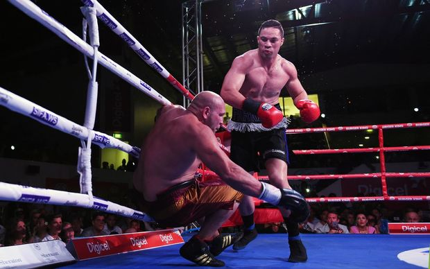 Joseph Parker knocks out Jason Bergman in the Rumble in Paradise boxing match, Apia, Samoa.