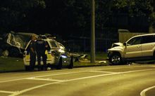 A car pursued by police crashed into another on Buckland Road, Mangere.