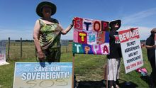 One of the more creative TPP protests at Ratana.