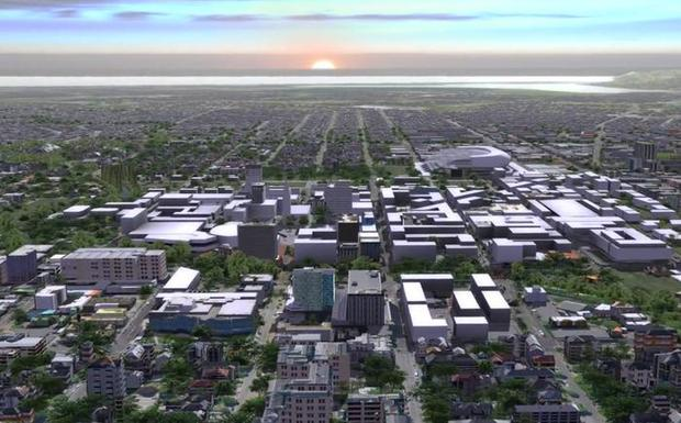 An artist's impression of the rebuilt Christchurch city.