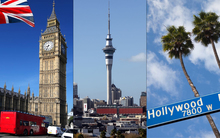 London, Auckland, Hollywood