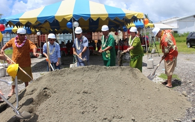 Turning the ground at the future food processing plant in Pago Pago
