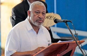 Fiji's Prime Minister Frank Bainimarama speaking to disciplined forces in January 2016