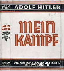 Dust jacket of the book Mein Kampf, written by Adolf Hitler.