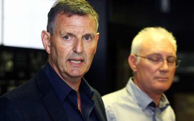 Alex Hayton is announced as interim NZRL CEO as Phil Holden (R) steps down, 25 January 2016. Copyright Photo: William Booth / www.photosport.nz