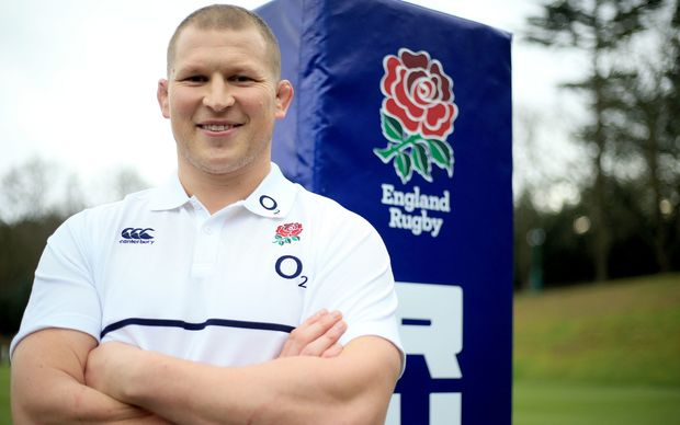 Dylan Hartley at the announcement of his role as the new England Rugby Captain