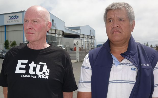 Union coordinator Chas Muir, left, and Sealord worker Victor Norman at the Sealord factory at Port Nelson.
