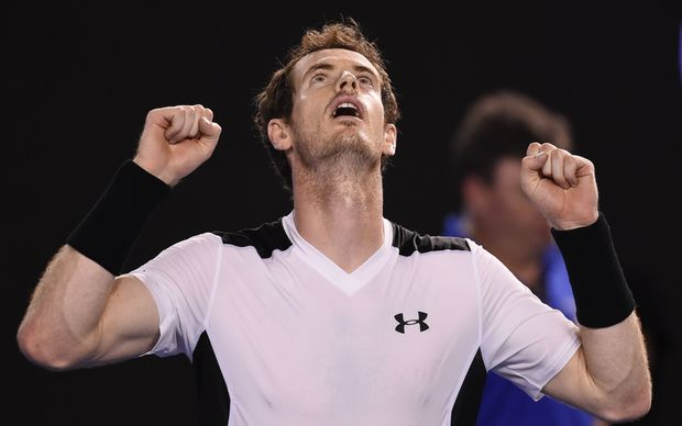 Britain's Andy Murray celebrates after beating Spain's David Ferrer.