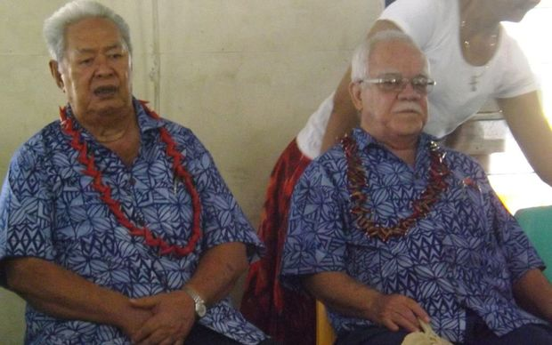 Samoa's newly elected members of the council of deputies, or deputy head of state, Tuiloma Lameko (L) and Le Mamea Ropati.