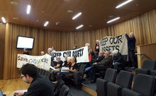 A silent protest at Christchurch Council's first full meeting of the year.