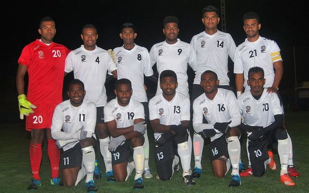 The Fiji Under 23 team before their tour match against Castellon FC.