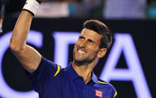 Novak Djokovic celebrates winning a point.