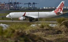 Virgin Australia plane at Sydney Airport.