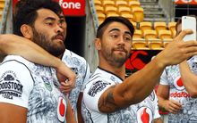 Shaun Johnson takes a selfie with Konrad Hurrell, Warriors team naming for the NRL Auckland Nines, 2016.