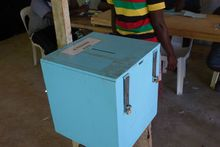 A ballot box in the village of Teouma for Vanuatu's 2016 election.